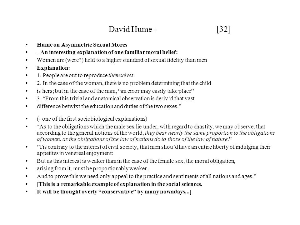 David Hume - [32] Hume on Asymmetric Sexual Mores